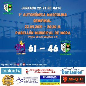 El equipo senior de Baloncesto Criptana masculino cae por quince puntos en su visita a Mora